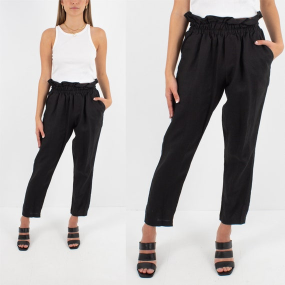 Black Linen High Waist Pants Trousers | Tapered le