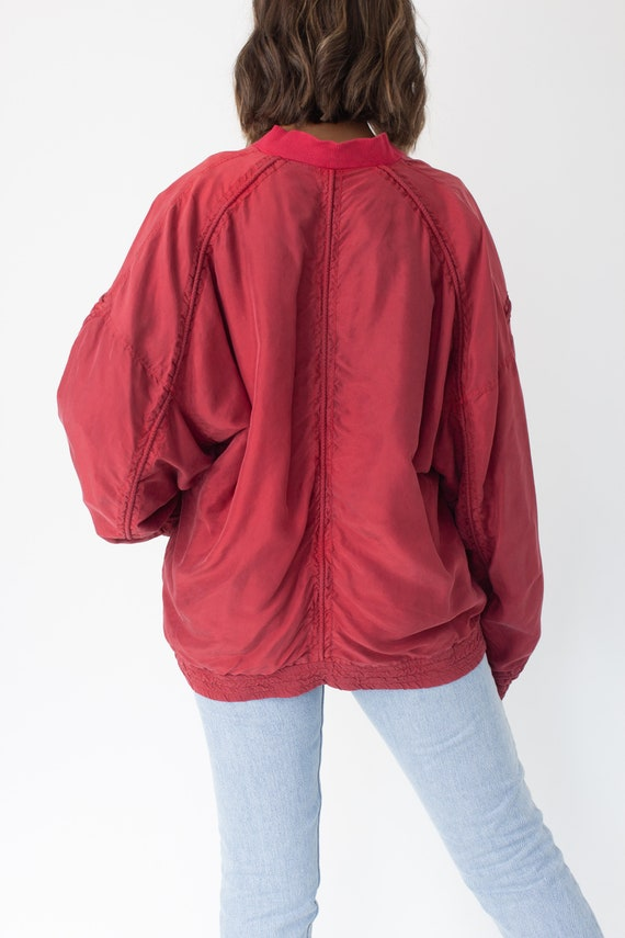 Red Pure Silk Bomber Jacket Unisex Womens Mens - … - image 4