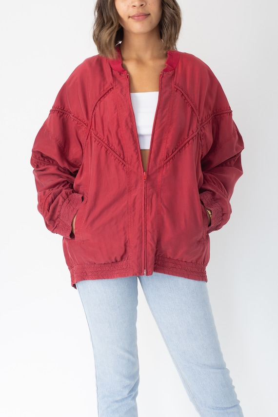 Red Pure Silk Bomber Jacket Unisex Womens Mens - … - image 2