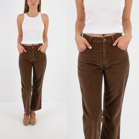 90s 1990s Brown Cord Corduroy Mid Rise Jeans Pants