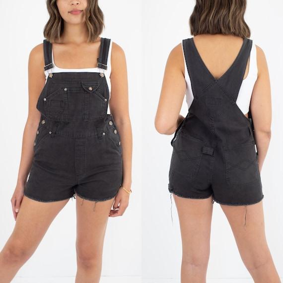 90s Black Denim Short Overalls Womens Girls - Size