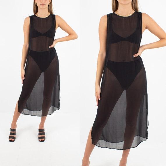 Sheer Black Silk Chiffon Midi Dress   Pure Silk Dr