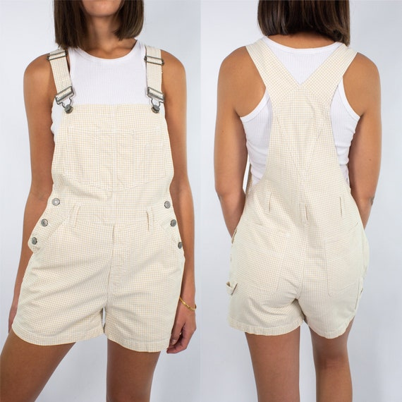 Vintage 90s Overalls | Oatmeal + White Check | Wom