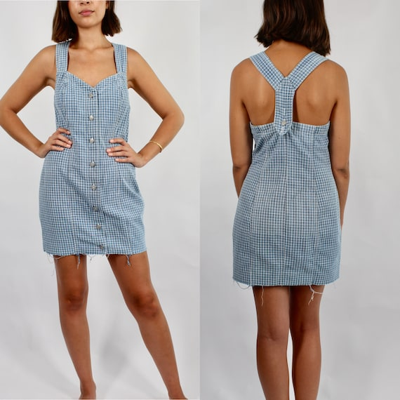 Vintage Denim Dress // Blue & White Check Denim Dr