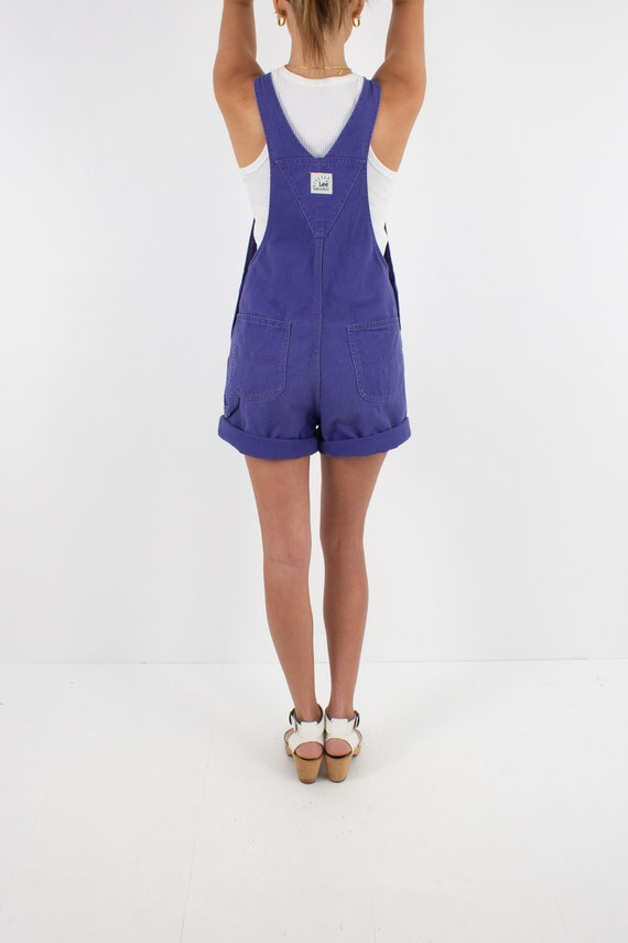90s 1990s Purple LEE Cotton Denim Short Overalls … - image 7