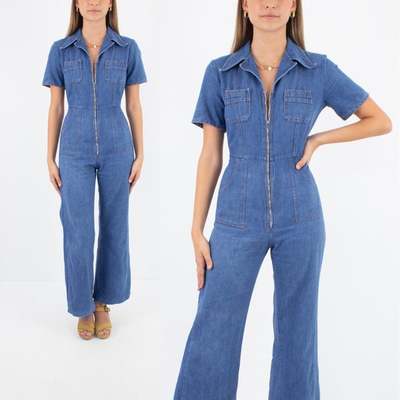70s 1970s Indigo Blue Denim Jumpsuit Pantsuit | 70