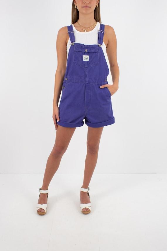 90s 1990s Purple LEE Cotton Denim Short Overalls … - image 3