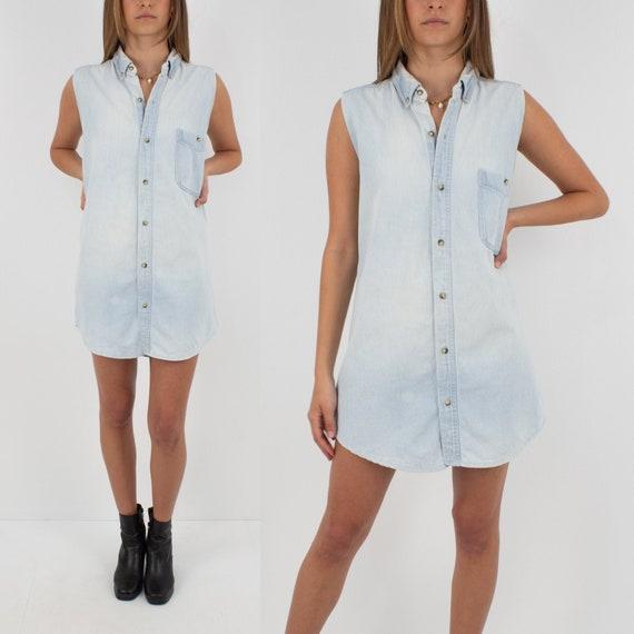 90s Light Blue Denim Shirt Dress - Size XS/S