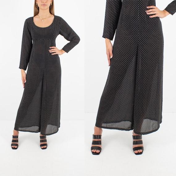 90s 1990s Sheer Black & White Polka Dot Jumpsuit P