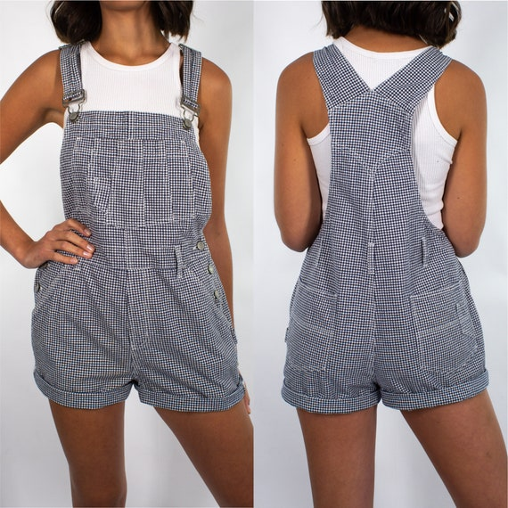 Vintage 90s Gingham Blue White Check Overalls Wome