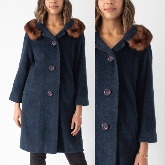 1950s/1960s Green Wool Jacket Coat with Fur Trim -
