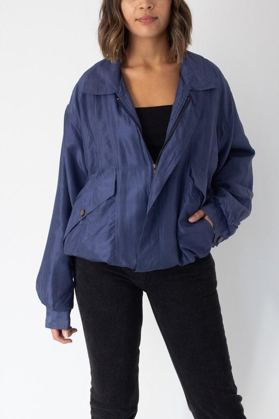 Blue Silk Bomber Jacket - Unisex Womens Mens - Fre