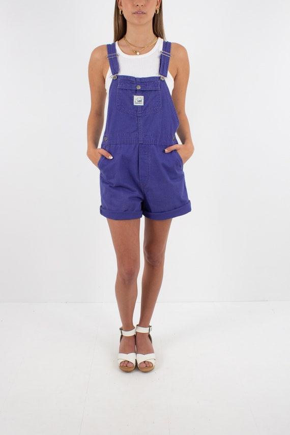 90s 1990s Purple LEE Cotton Denim Short Overalls … - image 4
