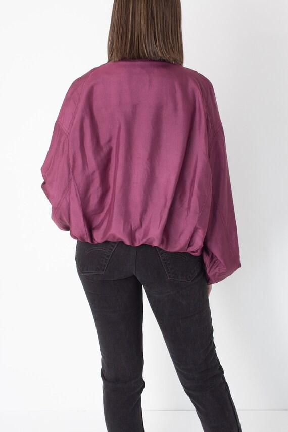 80s 90s Magenta Pure Silk Bomber Jacket Unisex Me… - image 4