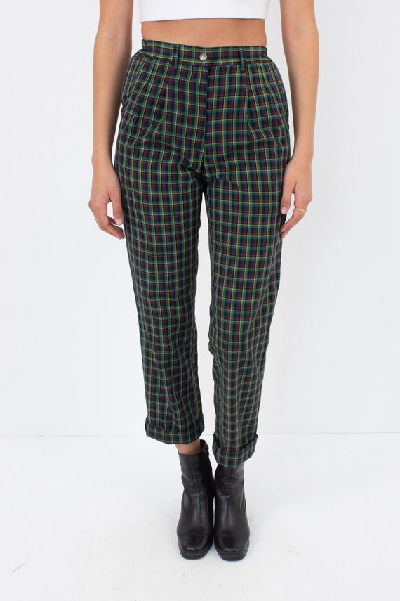 Green Plaid Gingham Check High Waist Pants - Size