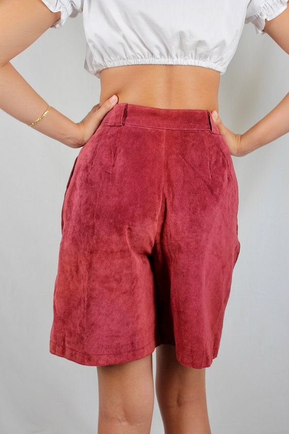 Vintage High Waist Dark Red Suede Leather Bermuda