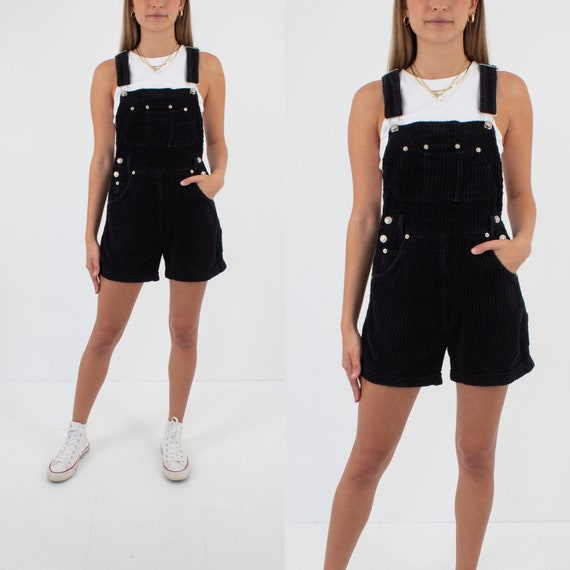 90s 1990s Black Cord Corduroy Short Overalls  Dung