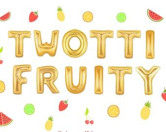 Twoti fruiti. Tutti fruitti balloons. Fruit balloons. twoty fruity. strawberry balloon. orange balloon. grape balloon. lemon balloon. banana