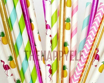 Flamingo party straws. tropical straws. pineapple straws. flamingo straws. flamingo party suppy. paper straw. watermelon straws. luau party