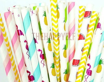 Flamingo party strawstropical straws. pineapple straws. flamingo decor. flamingo party supply. paper straw. watermelon straws. luau party