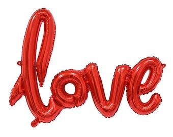 """Script amour ballon 40"""" rouge. Ballons d'amour d'or. Ballon Jumbo love. Décoration de mariage. Décor de douche nuptiale. Fête de fiançailles. Anniversaire"""