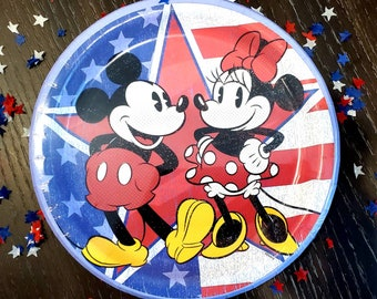 """9"""" Patriotic Mickey plates. Memorial Day decor. 4th of july party. Summer Party. Mickey balloons. Mickey 4th of july balloons."""