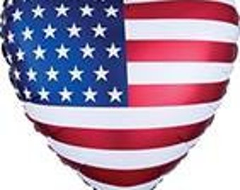 """18"""" patriotic heart balloon. Memorial Day decor. 4th of july party. Summer Party. Number balloons. USA balloons. Olympics. Patriotic"""