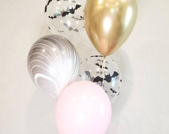 Halloween balloon bundle. Halloween confetti. Halloween party decor. Halloween decor. Halloween supplies. Pink and black Halloween