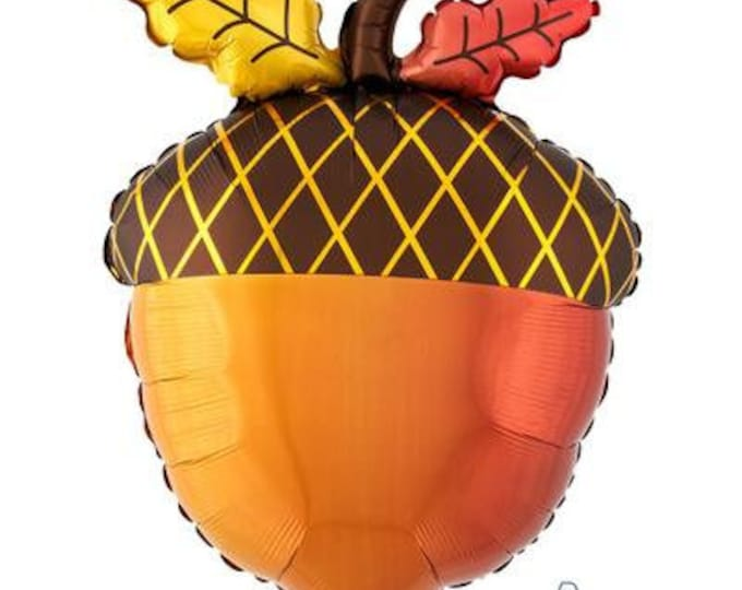 """Featured listing image: 18"""" Acorn balloon. Friendsgiving balloons. Friendsgiving decor. Friendsgiving tableware. acorn decor. acorn balloons. acorn tablescape"""