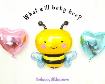Bee gender reveal balloons. bumble bee Party Decor. baby party. gender reveal party. bee balloon. gender reveal decor. baby shower balloons