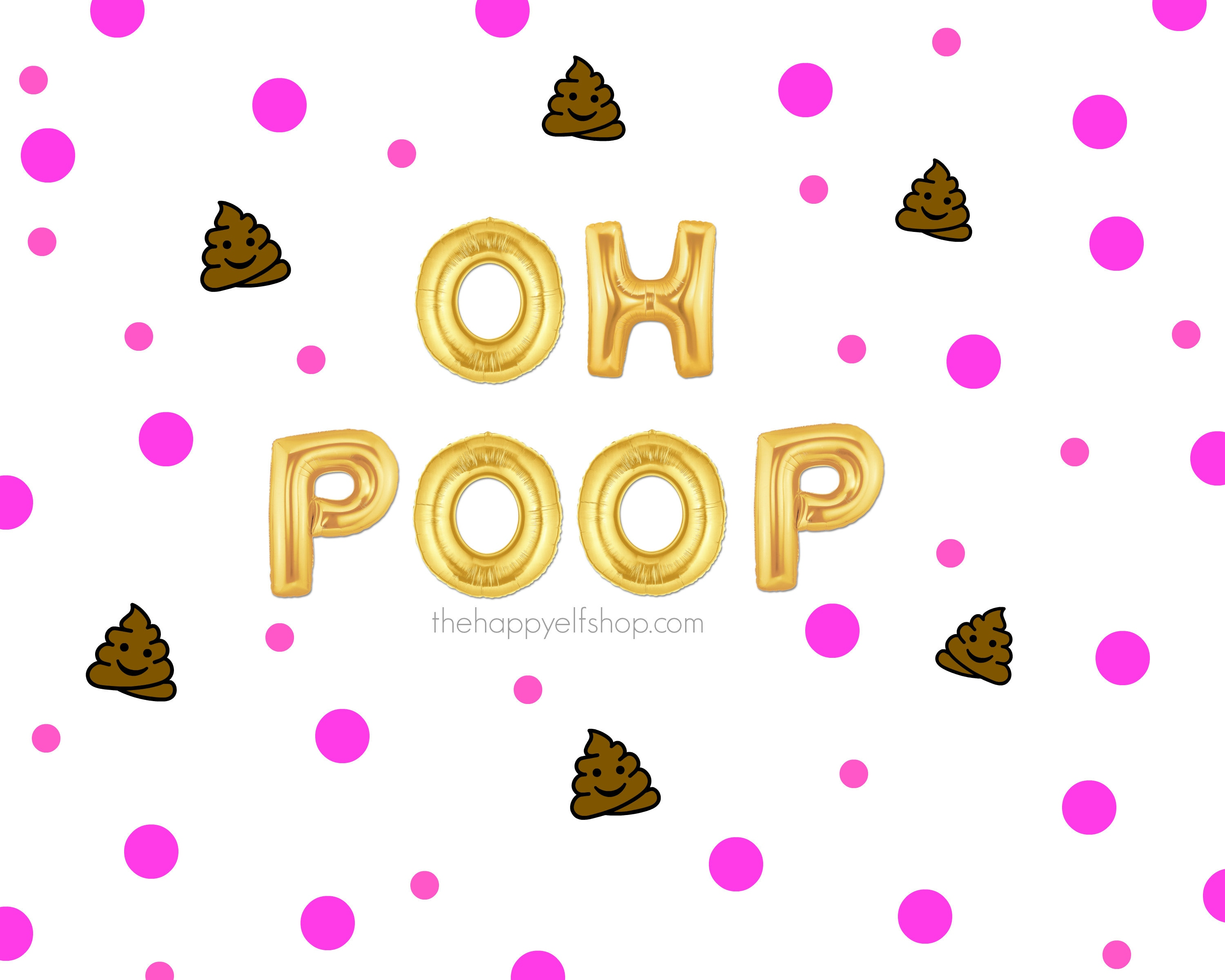 16 OH POOP Balloons Banner Old Fart Poop Emoji Bday Dirty 30 60th Birthday Party Decor