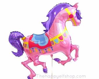 """48"""" Carousel horse balloon. Carousel party. Carousel balloon. Carousel horse. Carousel birthday party. Circus pony. Circus balloons. Horses"""