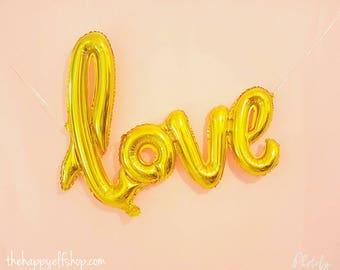 """Script amour ballon 40"""" or. Ballons d'amour d'or. Ballon Jumbo love. Décoration de mariage. Décor de douche nuptiale. Fête de fiançailles. Anniversaire"""