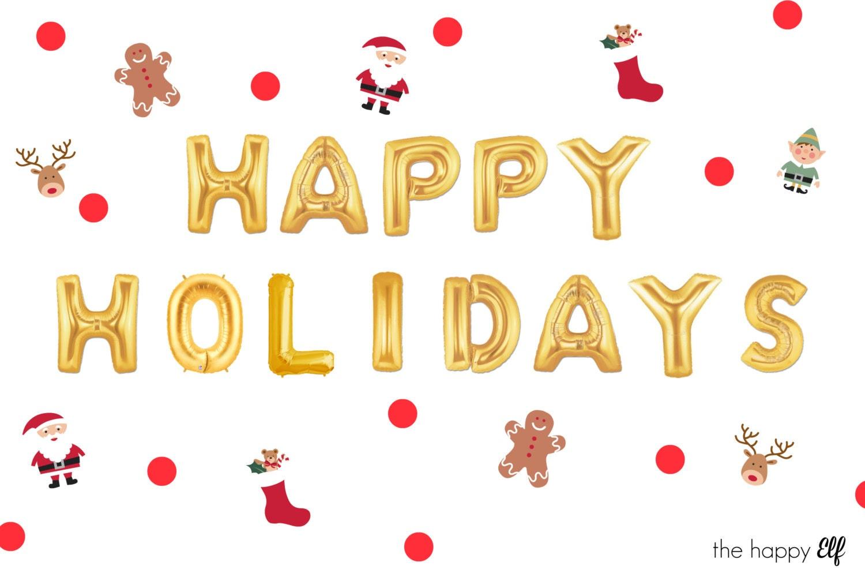 16 Gold HAPPY HOLIDAYS balloons/banner. Christmas decor. Christmas ...