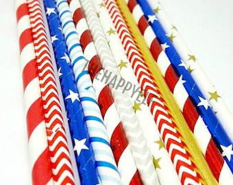 Patriotic straw variety. Patriotic straws. red white blue straws. Silver straws. 4th of july straws. 4th of july party decor. 4th of july
