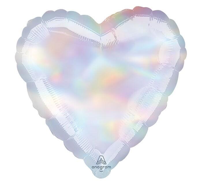18 Iridescent holographic heart balloon  unicorn party decor