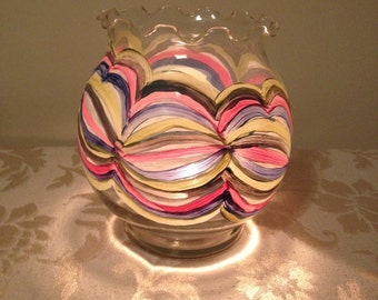 Hand Painted Votive Holder with Abstract Design