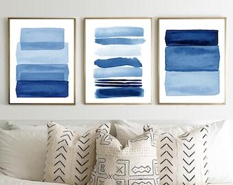 Blue Abstract Watercolor Paintings Set of 3 Prints Stripes Navy Wall Art Indigo Blue Boho Decor Minimalist art Large Scandinavian Posters