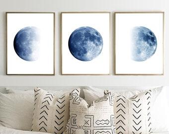 Moon Phases Prints Set of 3 Blue Wall art Indigo Navy Home Decor Lunar Phase Minimalist Posters Boho Wall Decor Scandinavian art Night Sky