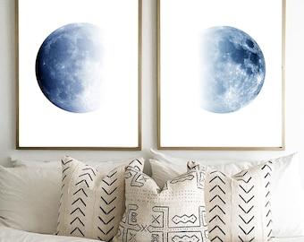 Moon Prints Set Indigo Blue Wall art Lunar Phases Large Posters Science Print Constellations Night Sky Minimalist art Scandinavian Posters
