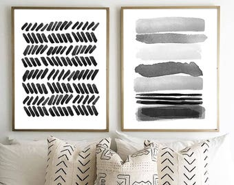 abstract watercolor prints set of 2 black white wall art gray painting minimalist art large abstract art stripes brushstrokes dots minimal