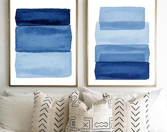 Blue Wall art Abstract Art Prints Watercolor Paintings Stripes Ombre Minimalist art Scandinavian Posters Indigo Blue Navy Home Decor