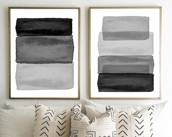 Black and White Wall Art, Abstract Prints Set, Large Abstract Art, Stripes Brushstrokes Minimalist art, Boho Home Decor, Monochrome Prints