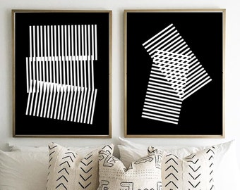 Abstract Prints, Geometric art, Prints Set of Two, Black White Wall art, Stripes Lines Large Art Print, Scandinavian poster, Minimalist art