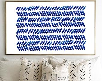 Blue Painting Abstract Watercolor Print Dashes Brushstrokes Minimalist art Indigo Blue Navy Wall art Geometric Minimal Modern art Boho Decor