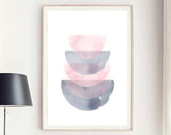 Geometric print, Pink wall art, Geometric art, Minimalist art, Scandinavian print, Ombre, Modern art print, Abstract art, Mid Century poster