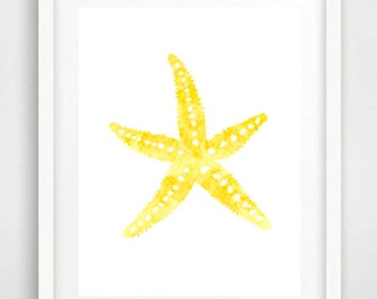 Watercolor painting, Starfish painting, Starfish print, Nautical art, Yellow wall art, Watercolor print, Beach print, Kids Room art, Yellow