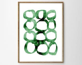 Green Circle Watercolor Painting Abstract Wall art Boho Wall Decor Scandinavian Poster Emerald Green Geometric print Brushstrokes Modern art