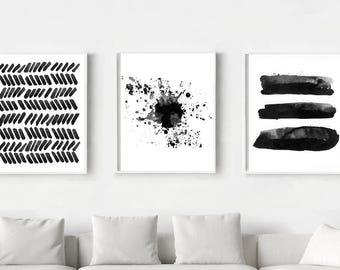 Set of 3 Print Abstract Watercolor Paintings Black White Wall art Stripes Paint Splatter Dashes Brushstrokes Minimalist Art Large Prints  sc 1 st  Etsy & Black white wall art | Etsy