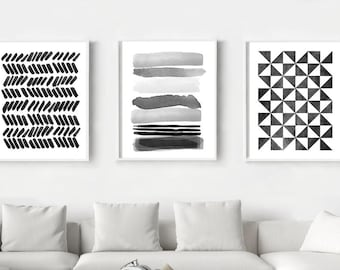 Abstract Watercolor Prints Set Of 3 Geometric Wall Art Stripes Triangles  Brushstrokes Dots Minimalist Art Black White Wall Art Home Decor